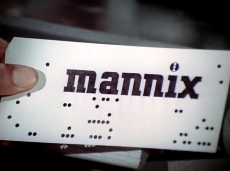 Mannix computer punch card logo