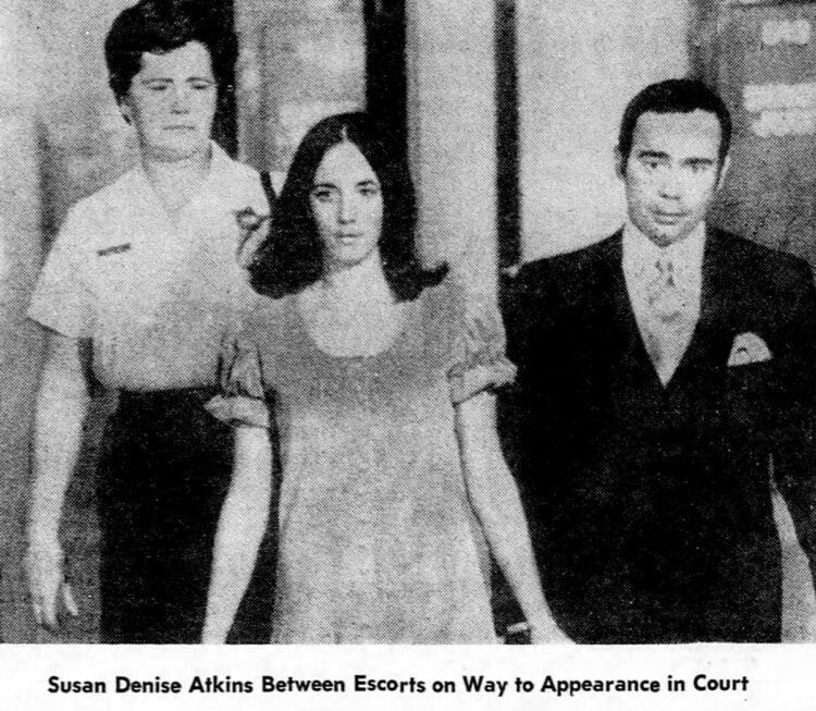Manson Family trial - Susan Denise Atkins on way to court - December 1969