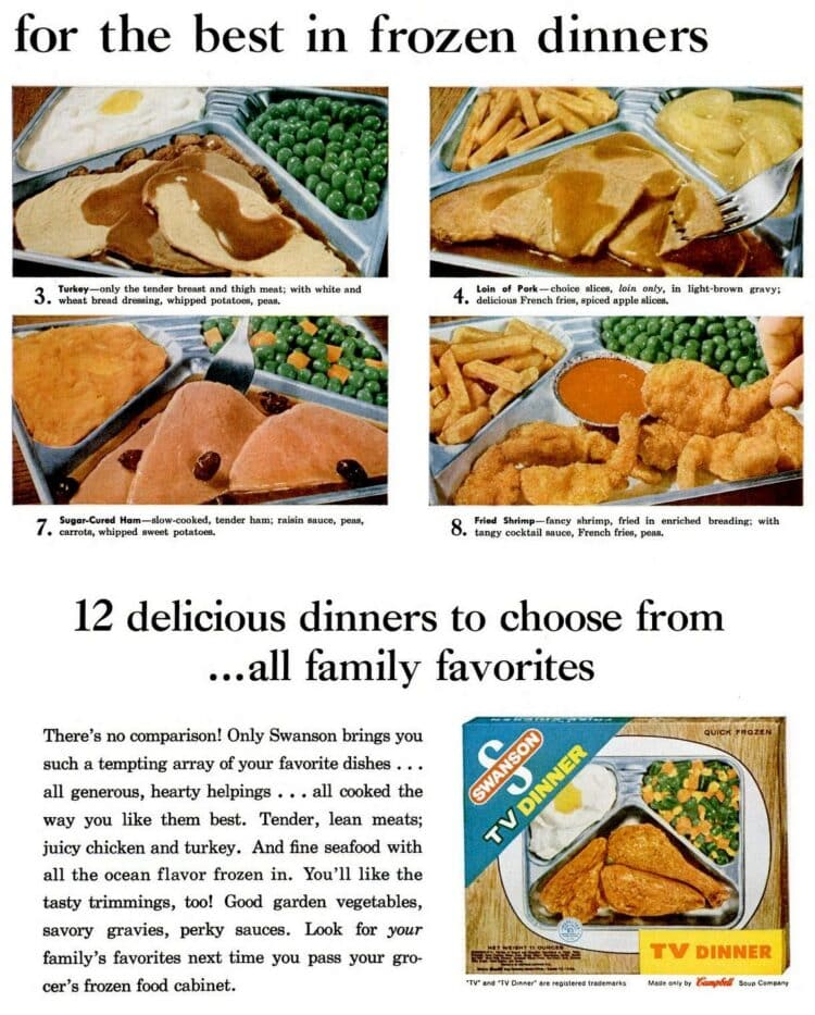 Many kinds of retro TV dinners you could get in 1961 (1)