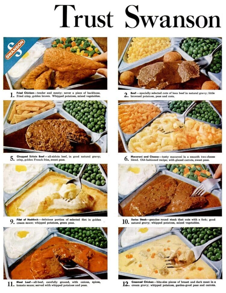 Many kinds of retro TV dinners you could get in 1961 (2)