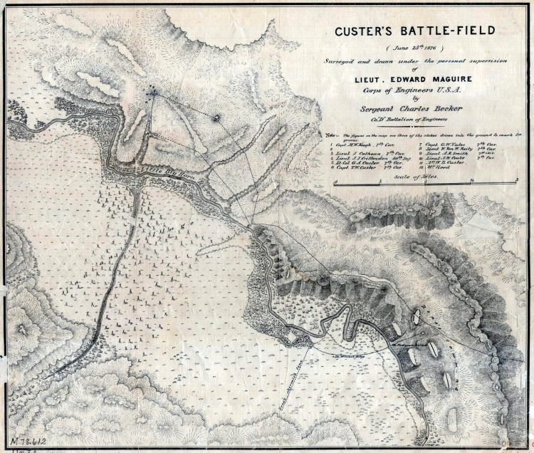 Map - Custer's battle-field (June 25th 1876)