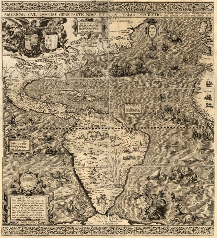 Map of America and Atlantic ocean from 1562 - How did America get its name