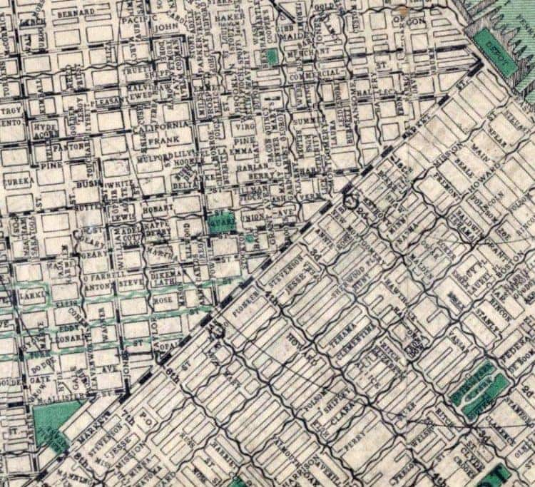 Map of San Francisco from 1905 Market Street is the diagonal line through the middle