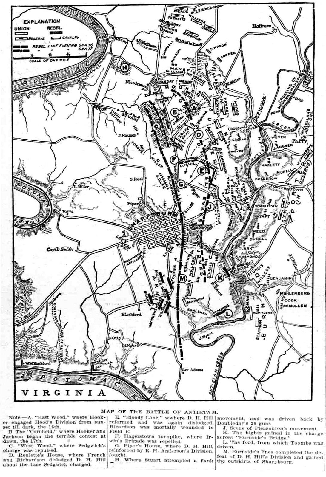 Map of the Battle of Antietam (from 1907)