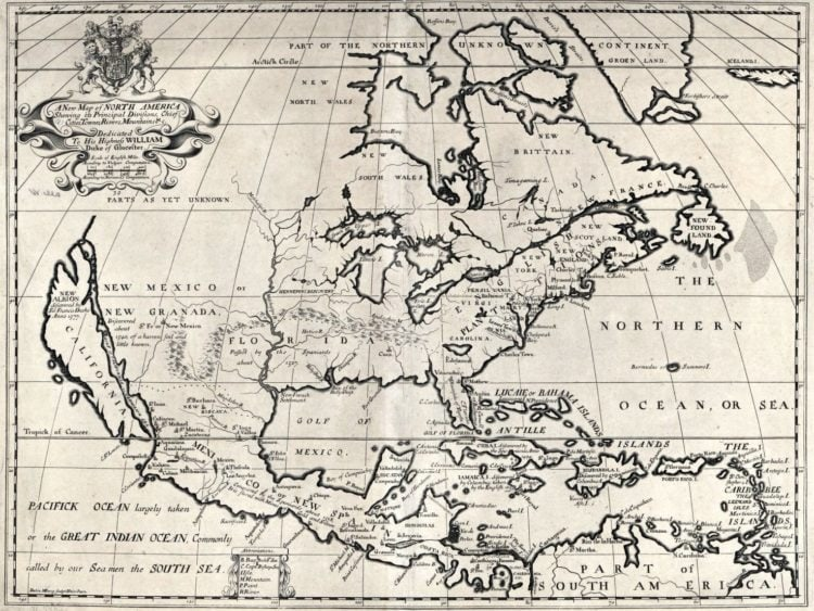 Map of the US from 1722 - A new map of North America shewing its principal divisions, chief cities, townes, rivers, mountains