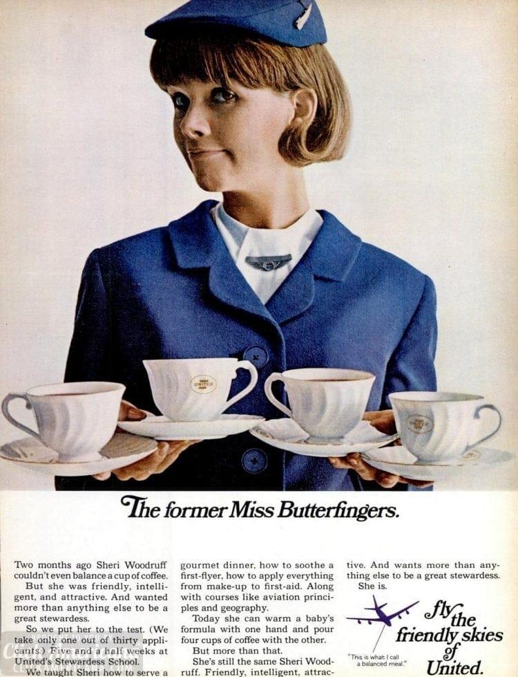 Mar 1967 United stewardess - Butterfingers