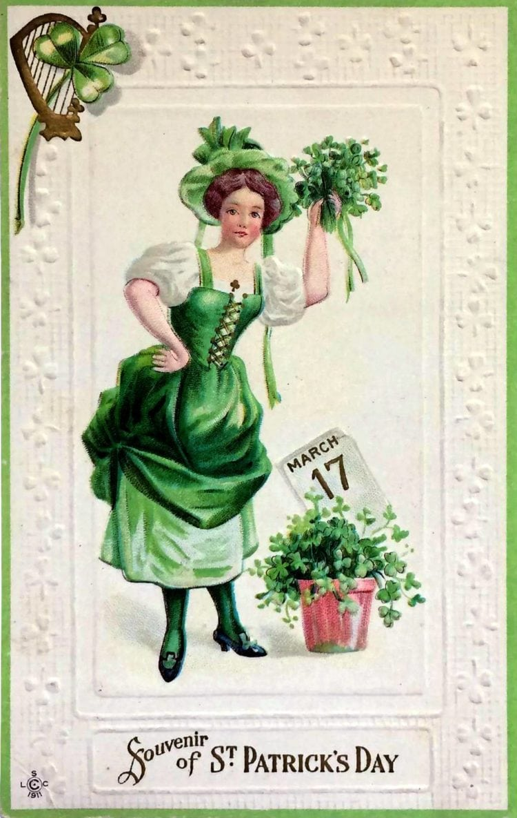 March 17th St Patrick's Day antique postcard
