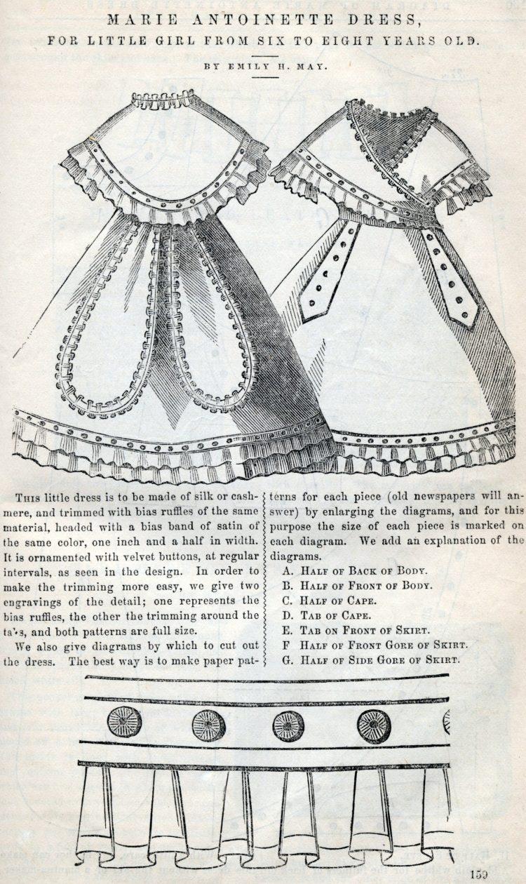 Marie Antoinette dress sewing pattern (1869)