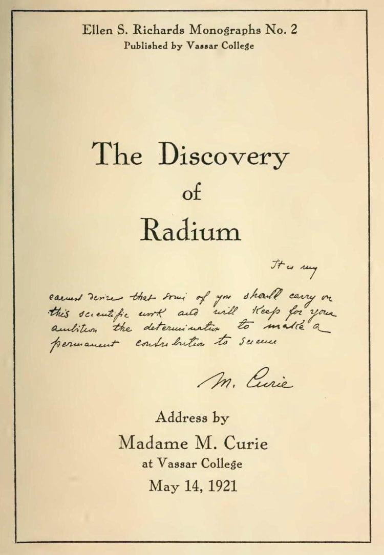 Marie Curie address at Vassar College 1921