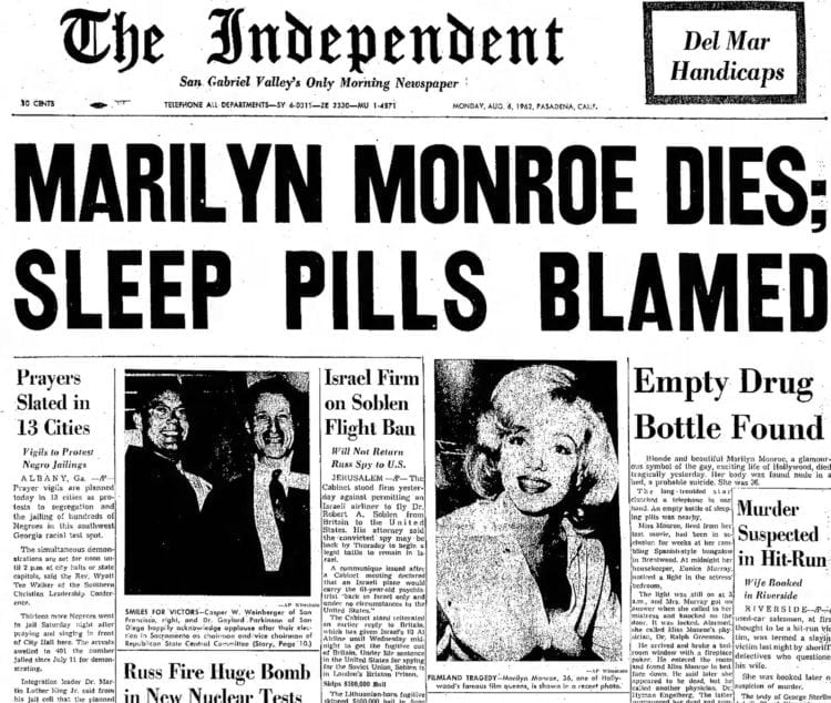 Marilyn Monroe dies - Front page of Pasadena Independent newspaper - August 6 1962
