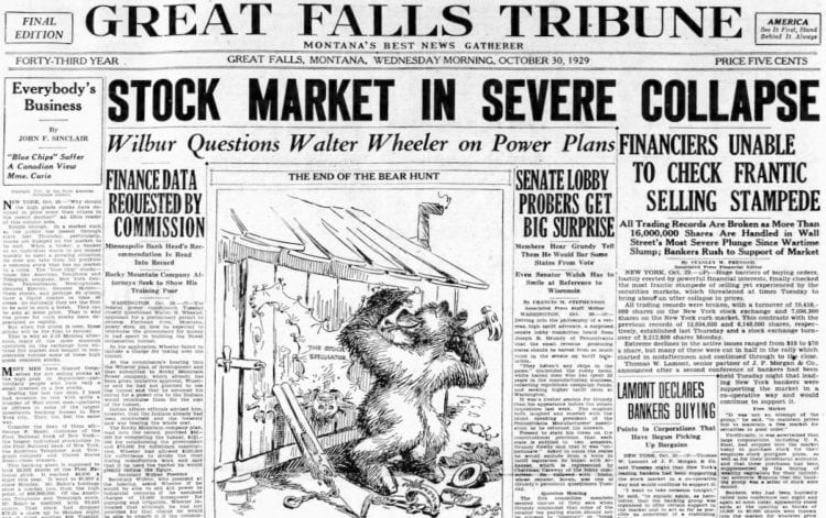 The Great Depression Newspaper headlines from 1929 -