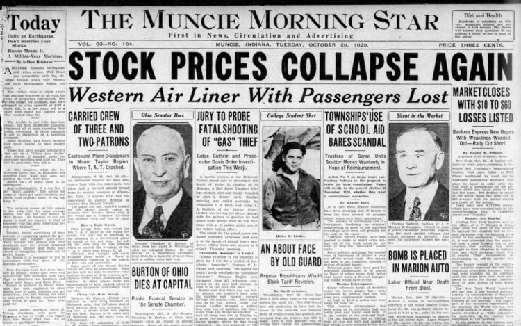 The Great Depression Newspaper headlines from 1929 - Stock Prices Collapse Again