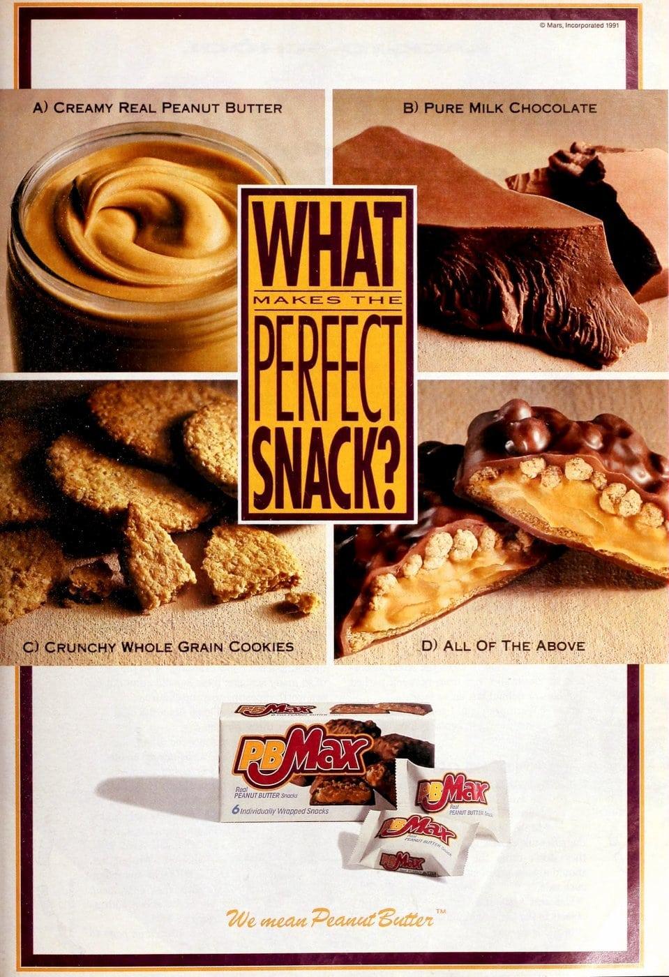 Mars PBMax peanut butter candy bars (1991)