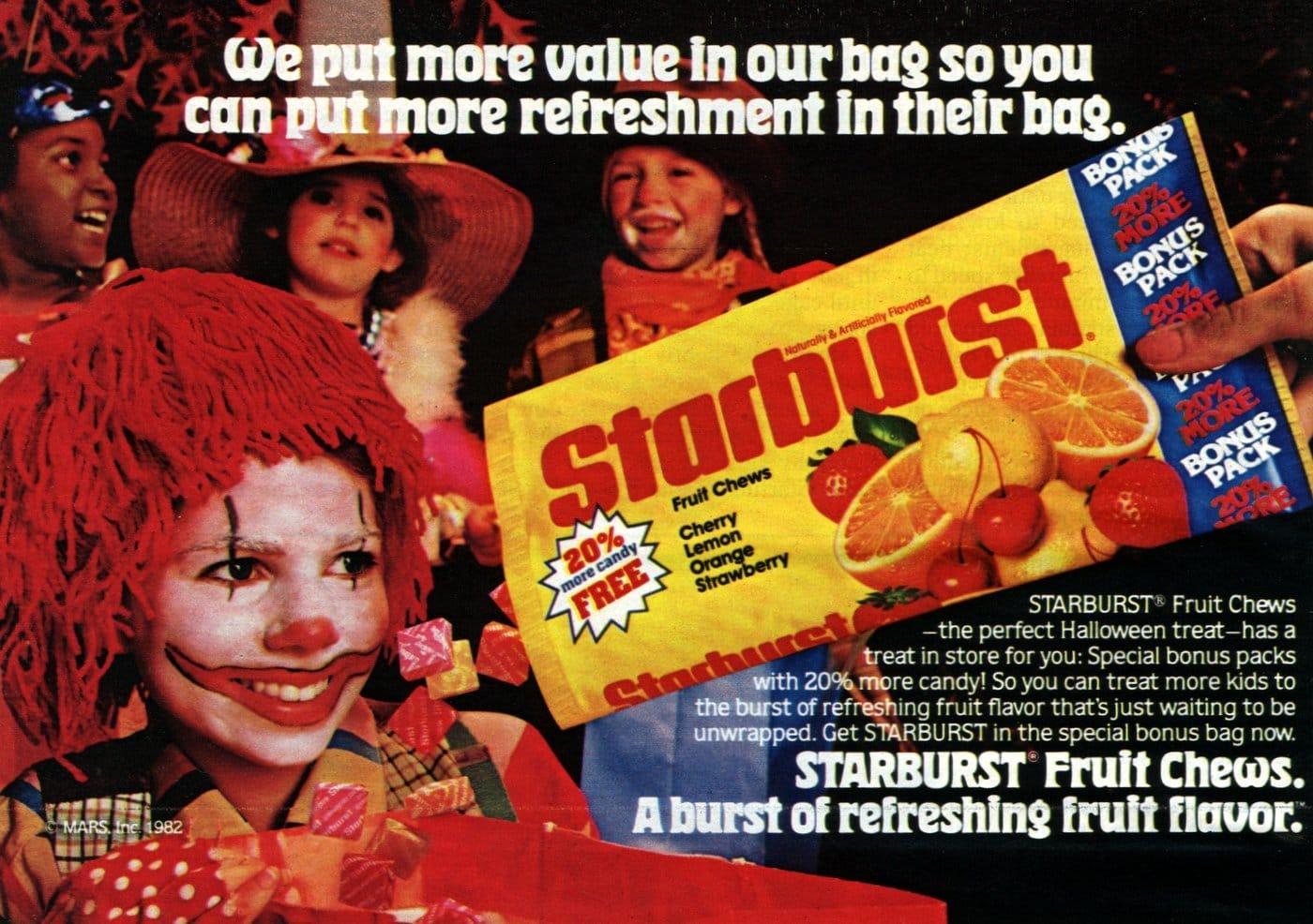 Mars Starburst fruit chews candy (1982)