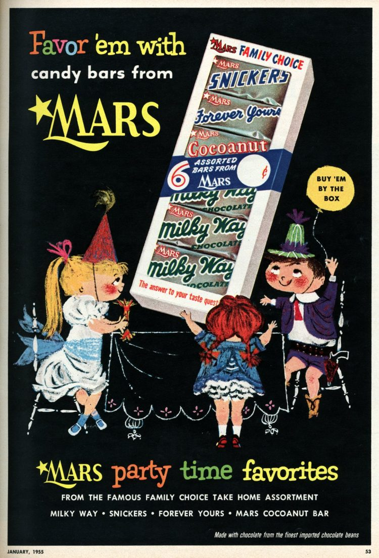 Mars candy bars and vintage Halloween candy from 1955