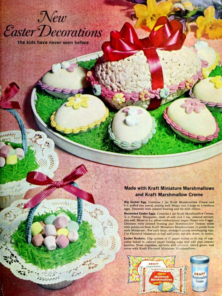 Old-fashioned marshmallow Easter eggs, little eggs, cupcake baskets (1963)