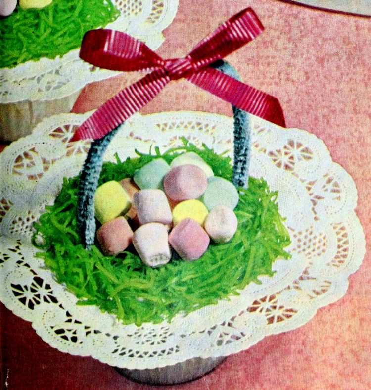 Marshmallow Easter treats Cupcake baskets