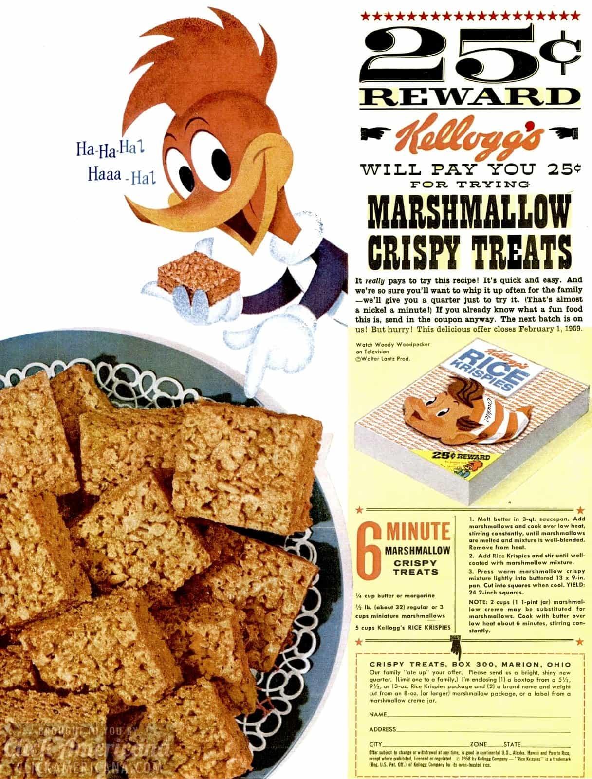 Woody Woodpecker with a Marshmallow Crispy Treats recipe (1958)