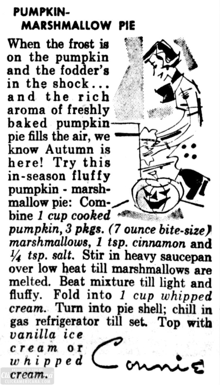 Marshmallow pumpkin pie (1958)