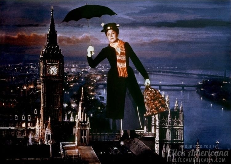 Mary Poppins with umbrella flying over London