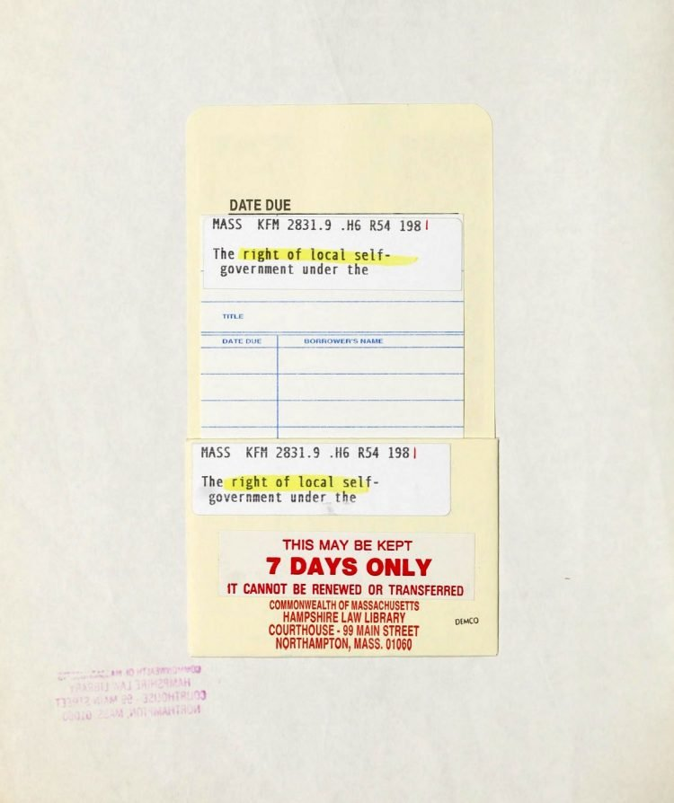 Massachusetts law library lending slip from 1981