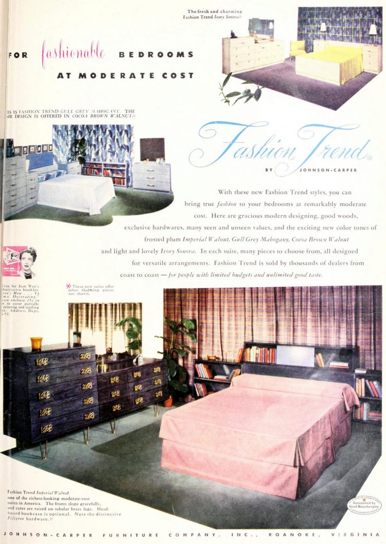 Master bedroom interior decoration from 1950