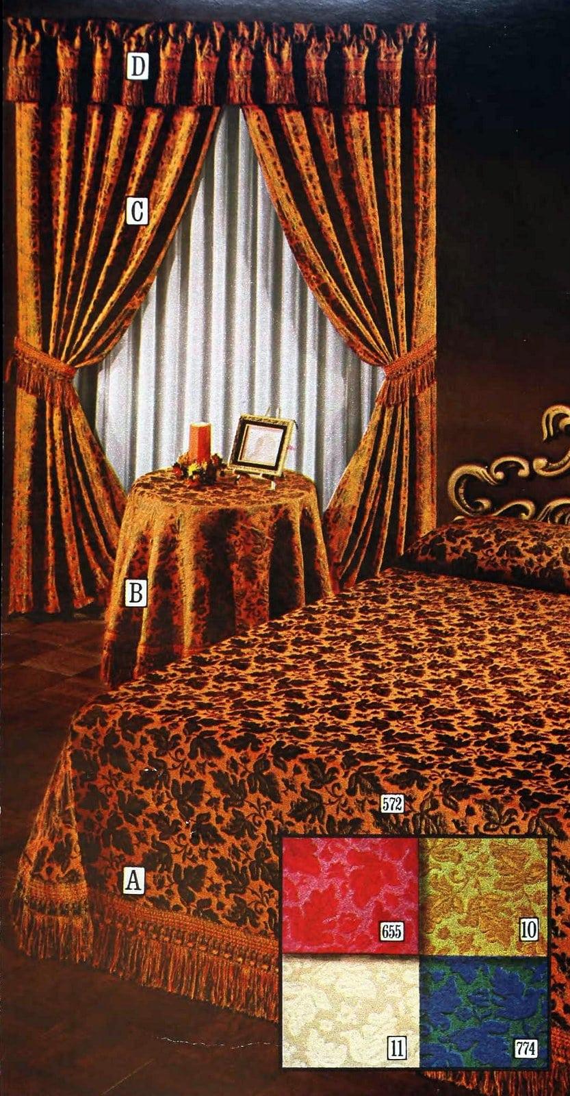 Matelasse raised weave design - Ivy leaves design 70s bedspread