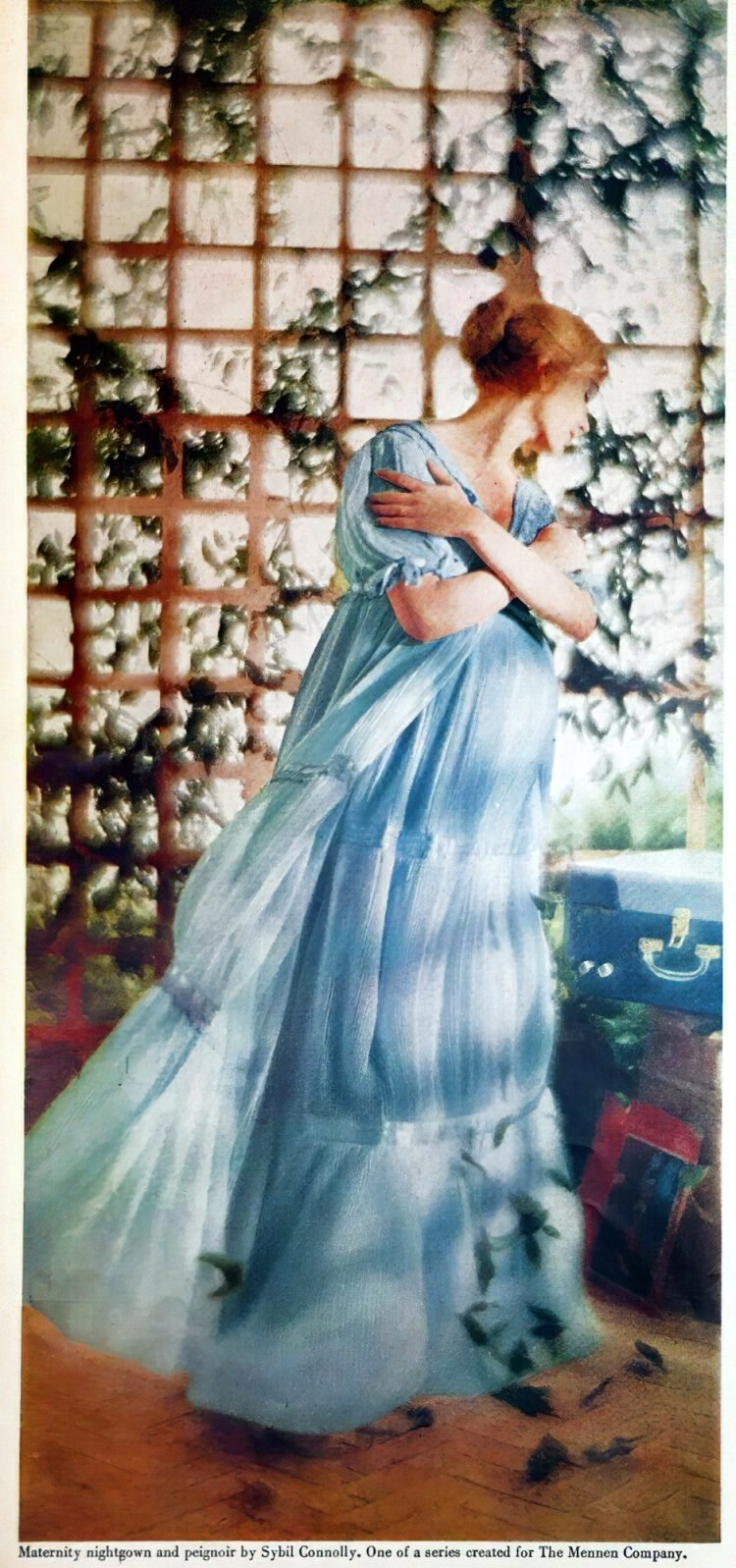 Maternity nightgown and peignoir by Sybil Connolly - Mennen 1950s-gigapixel-width-1800px