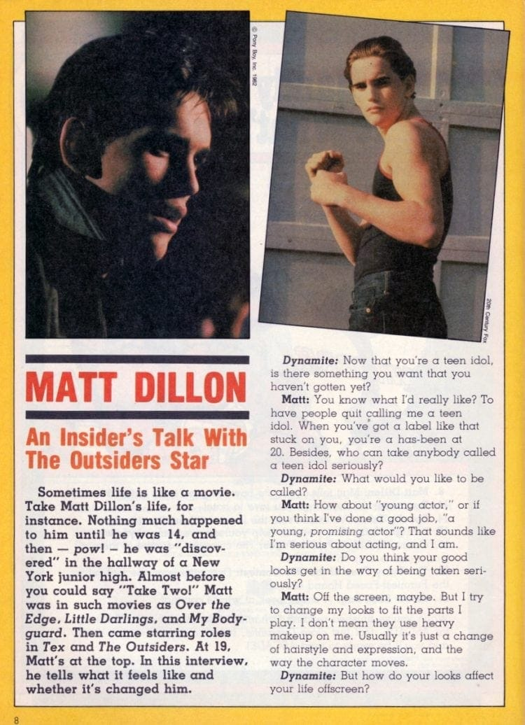 Matt Dillon An insider's talk with The Outsiders star (1983)