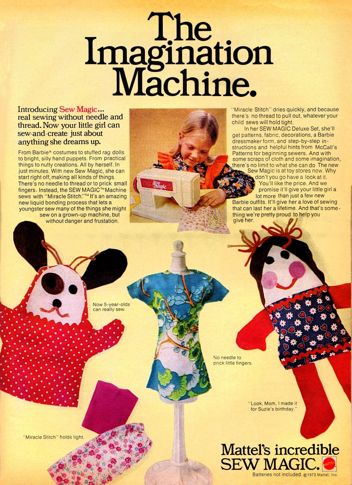 Mattel's Sew Magic sewing machines for kids - 1973