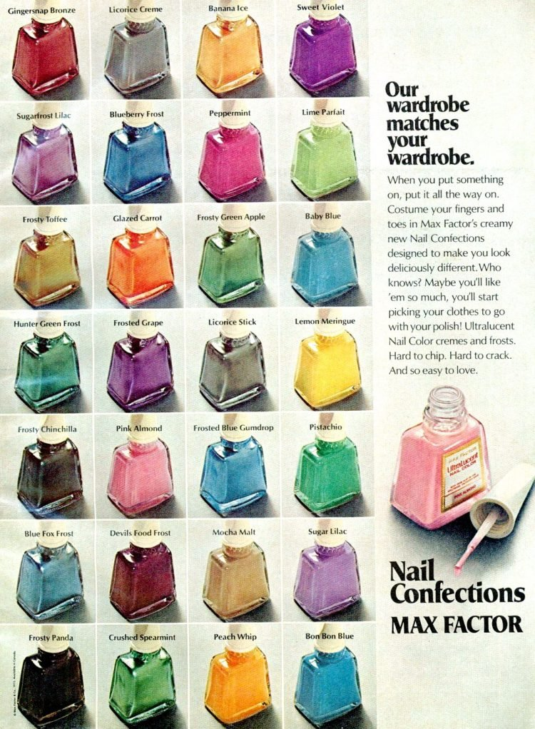 Max Factor Nail Confections - lots of colors from 1973