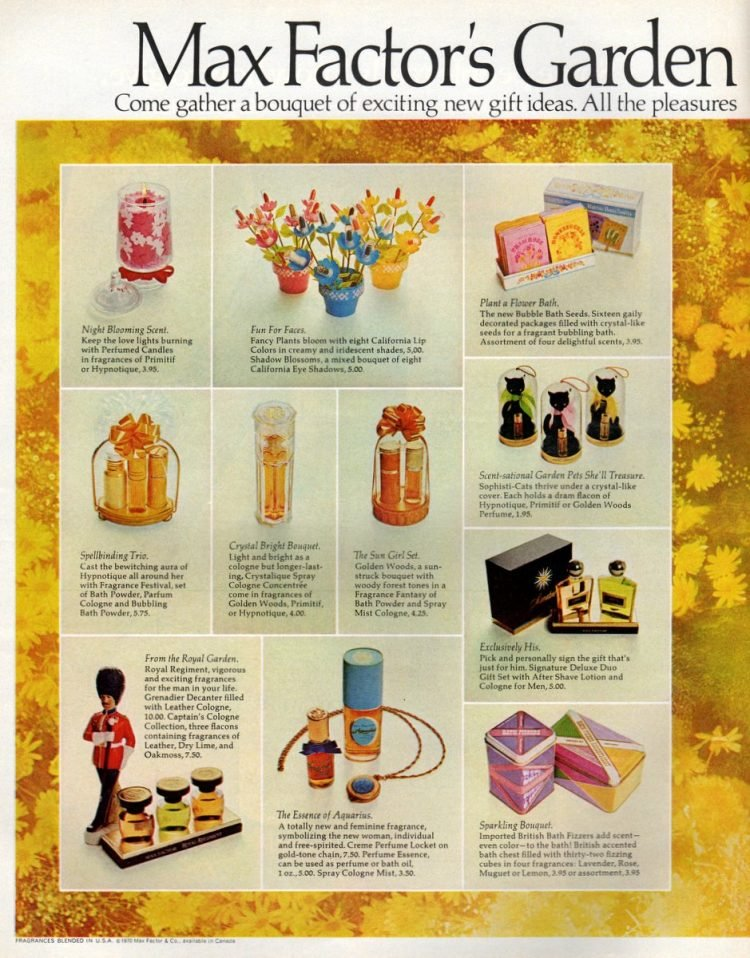 Max Factor garden gift sets in California colors from 1970 (2)