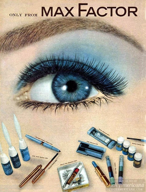 Max Factor makeup blue eyeshadow from the 1960s