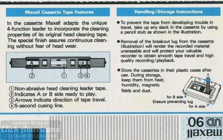 Maxell cassette tape UD-90 insert
