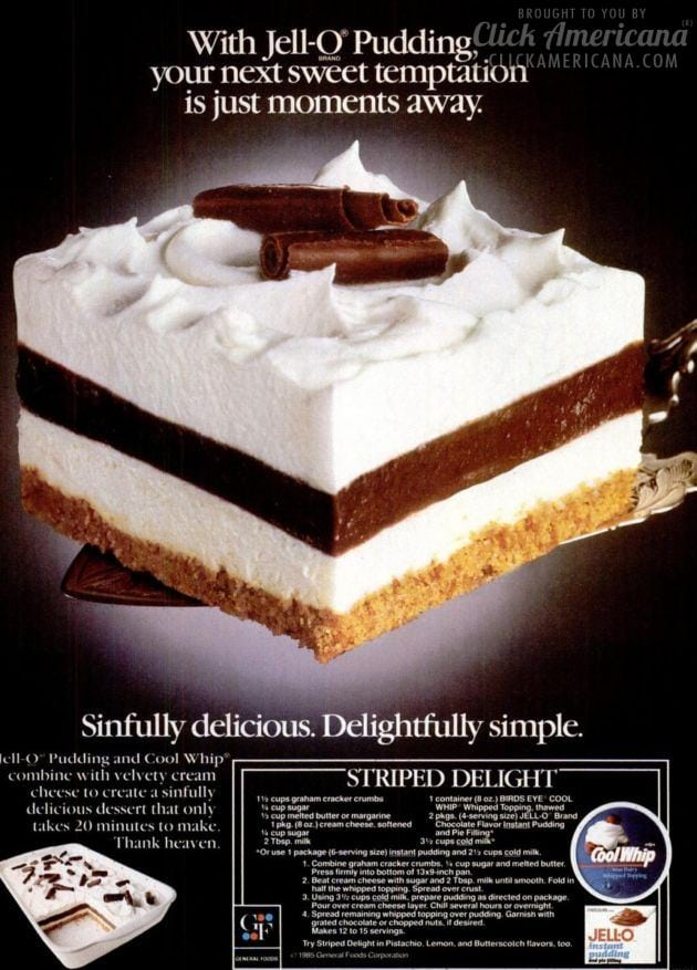 Striped Delight Vintage Dessert Recipe 1985 Click