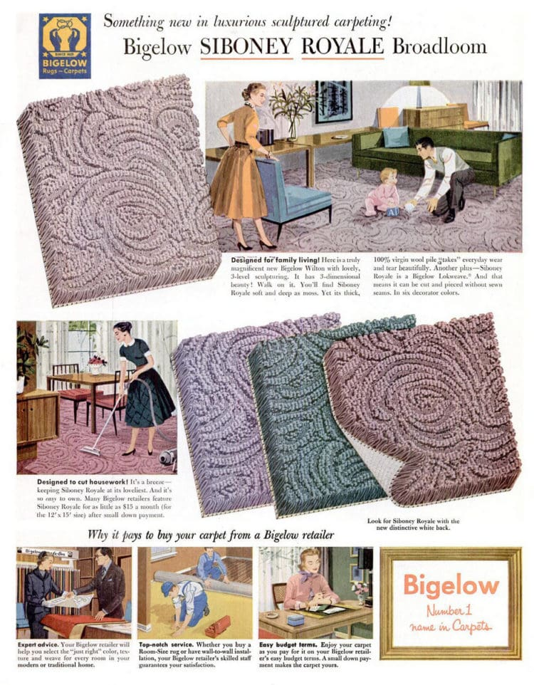 May 2, 1955 vintage sculptured carpet