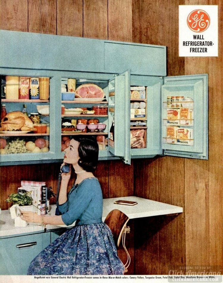 Vintage wall-mounted refrigerator ad - blue