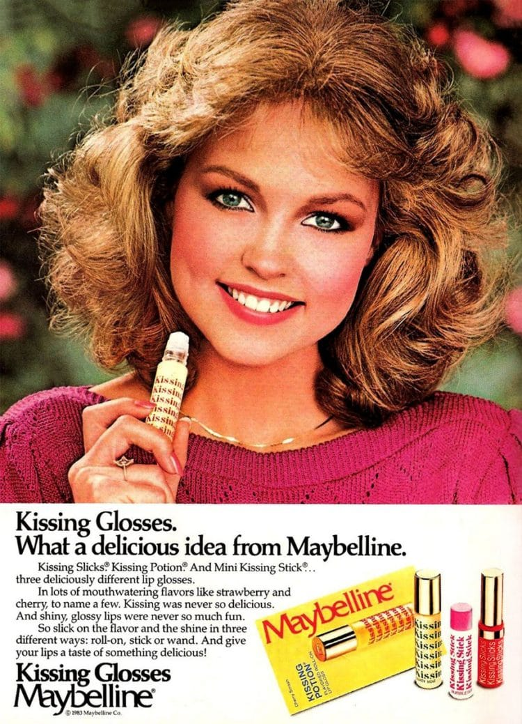 Maybelline Kissing Glosses vintage ad from 1985