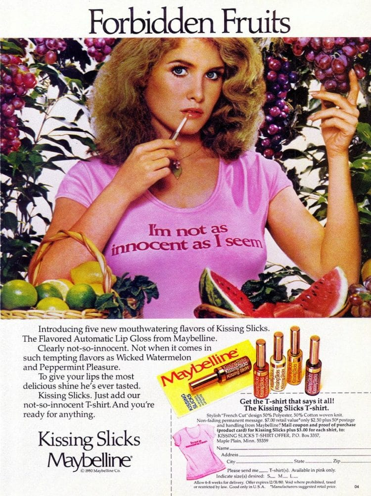 Maybelline vintage ad for Kissing Slicks from 1980