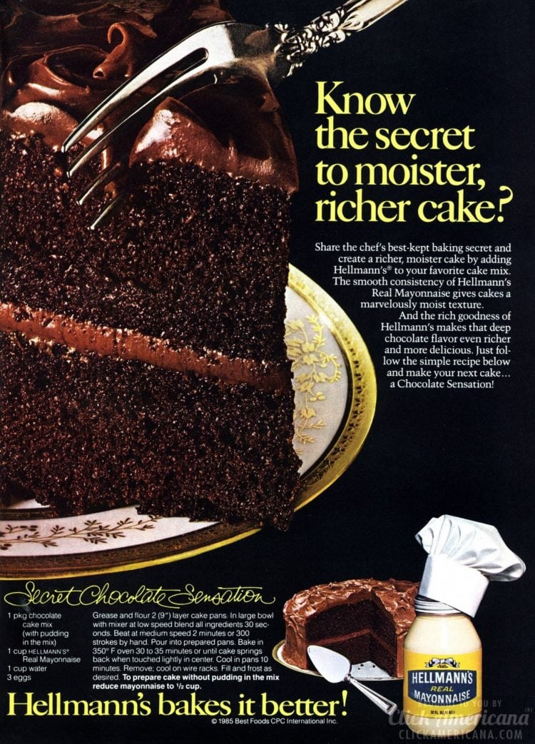What's the secret of this cake? Here's a hint: Its full name is the Mayonnaise Chocolate Sensation cake. Get this surprisingly tasty recipe from 1985! #chocolatecake #vintagedesserts #dessertrecipes #clickamericana