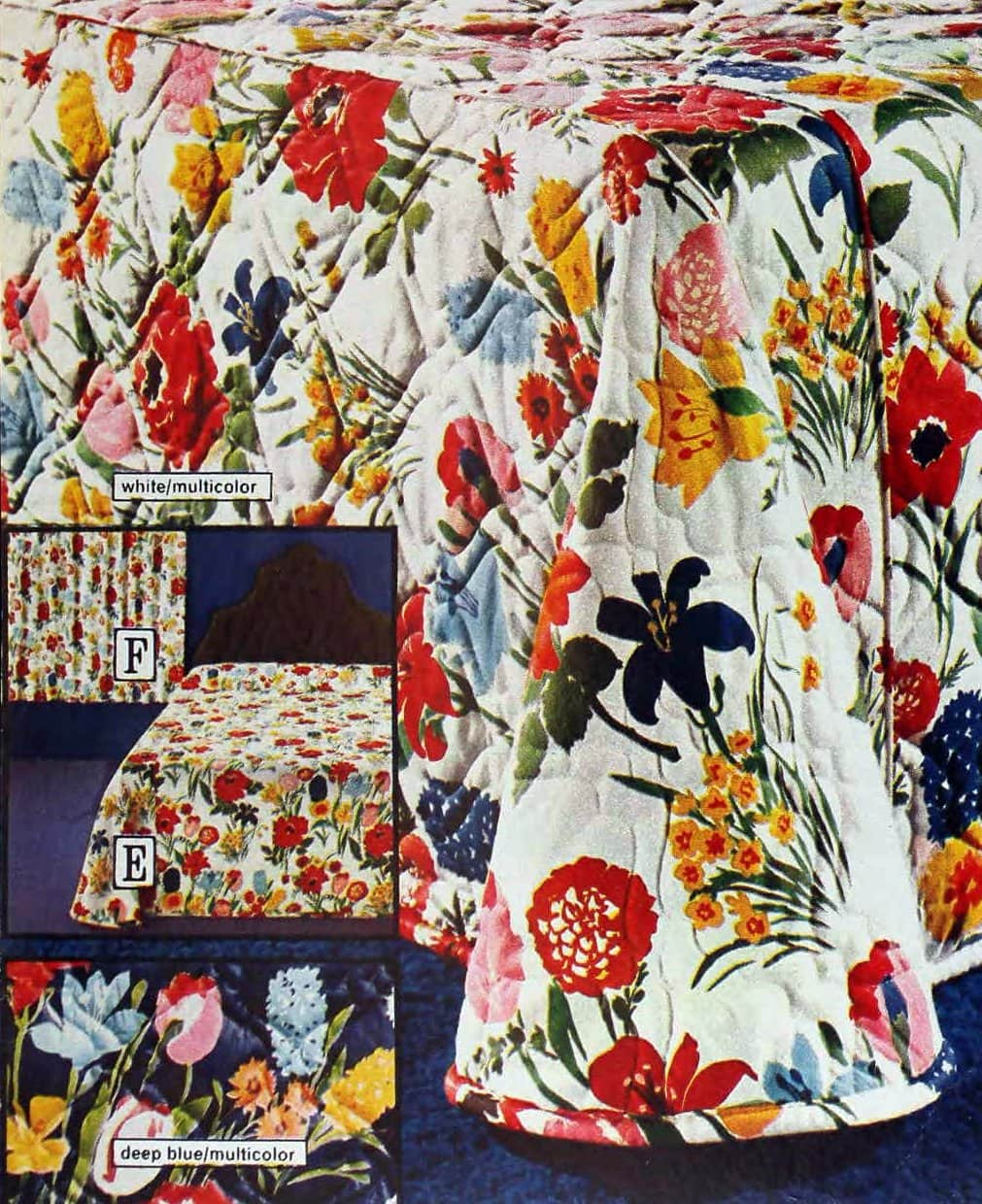 Maypole multicolor floral print bedspreads from the seventies
