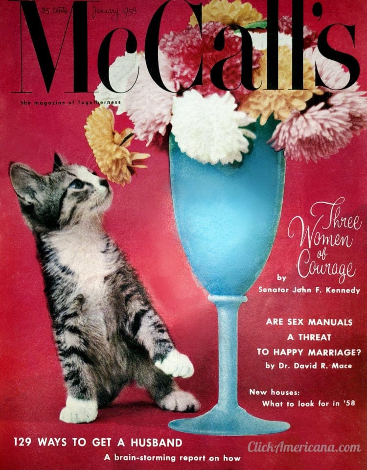 McCalls magazine cover from 1958 with tips for 129 ways to get a husband