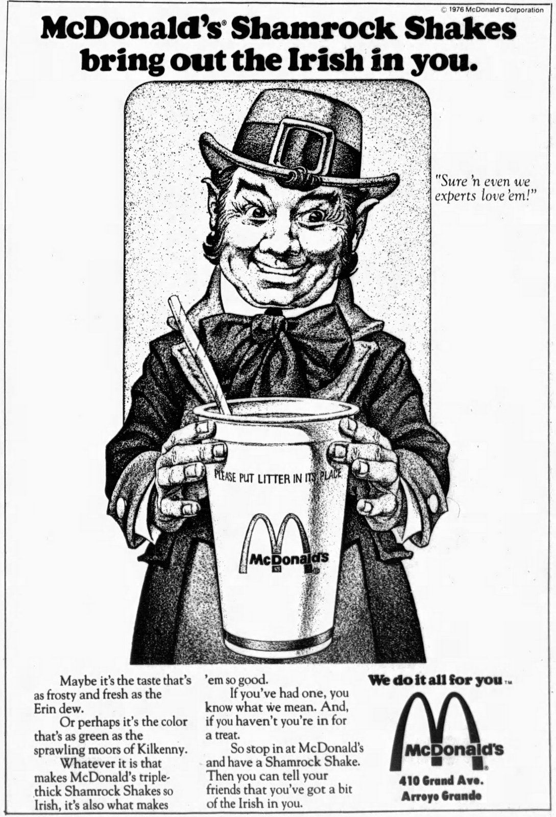 McDonald's Shamrock Shakes bring out the Irish in you. (1976)