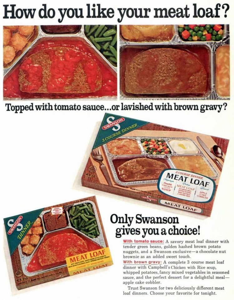 Meat loaf TV dinners from 1968