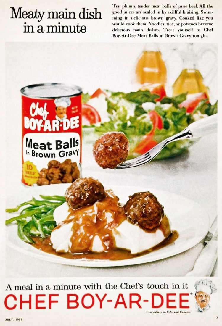 Meatballs in brown gravy A meaty main dish in a minute (1961)
