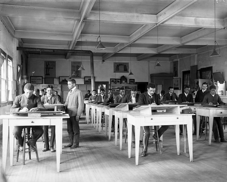 Mechanical drawing class at Tuskegee Institute, ca. 1902