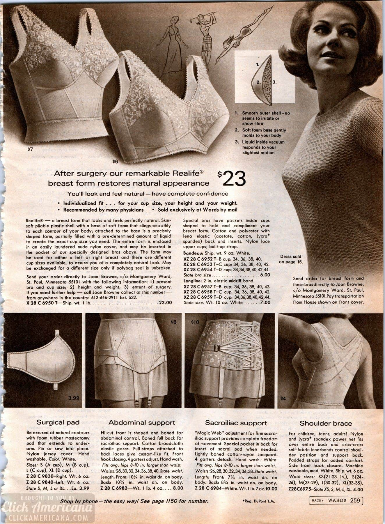 Medical lingerie from the '60s - back support and post-mastectomy bras