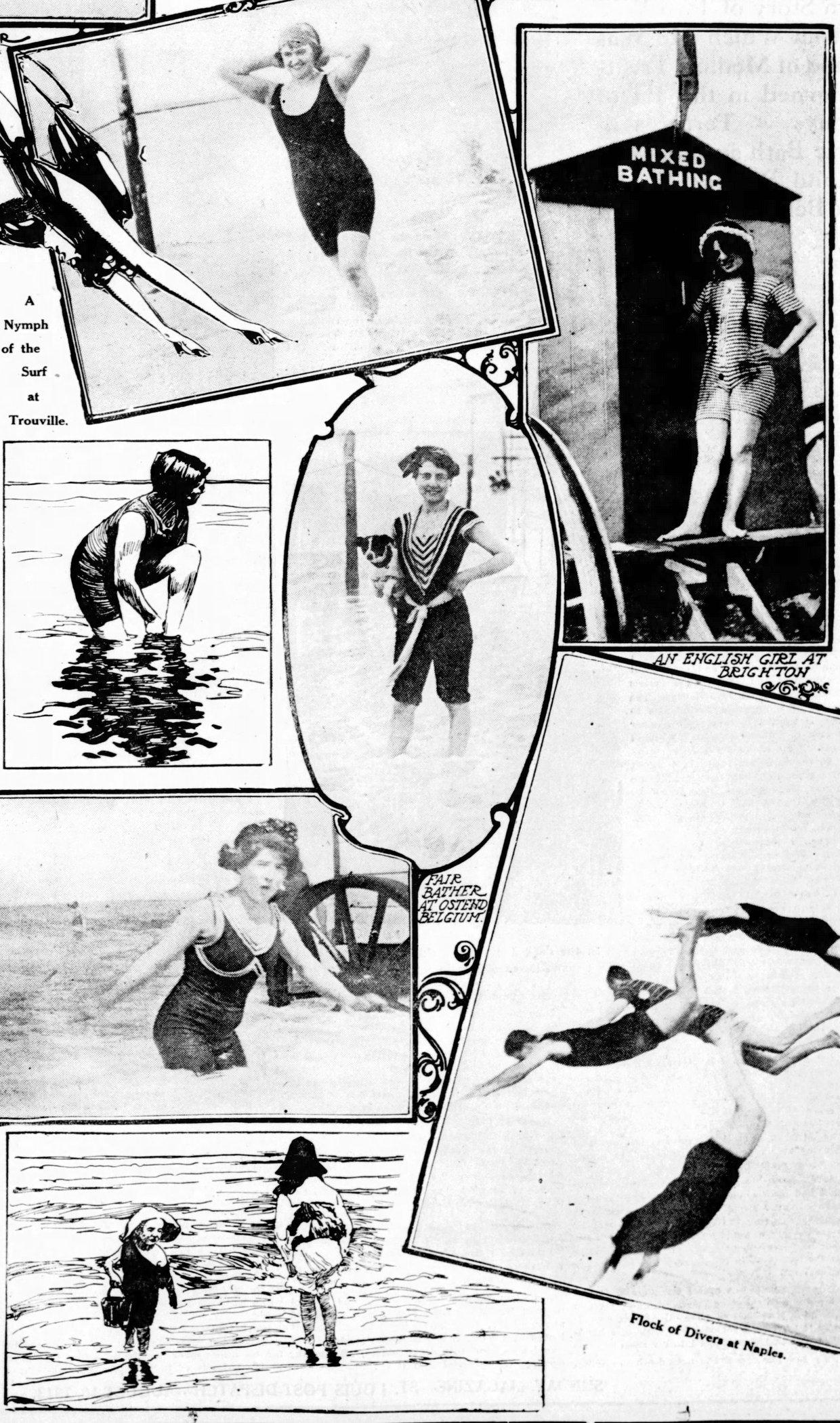 Men and women in vintage swimwear from 1913