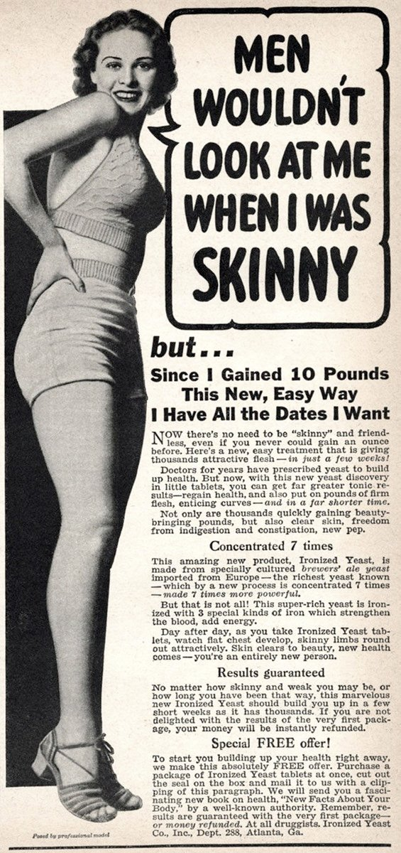 Men wouldnt look at me when I was skinny 1930s-1940s