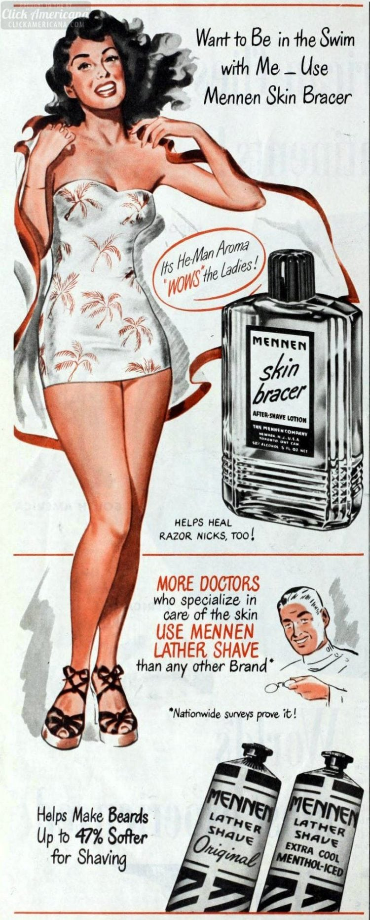 Want to be in the swim with me -- use Mennen Skin Bracer (1948)